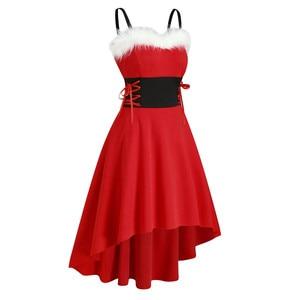 2020 Christmas Dress Women Off Shoulder Autumn Fashion Dresses Faux-fur Lace Up Asymmetrical High Low Midi Dress Женское Платье