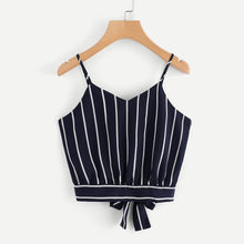 2019 Fashion For Women Stripe Shirt Sleeveless Loose V Sleeve Tank Top Bandage Casual Tops Sleeveless Tunic Sexy Female Tank Top(China)