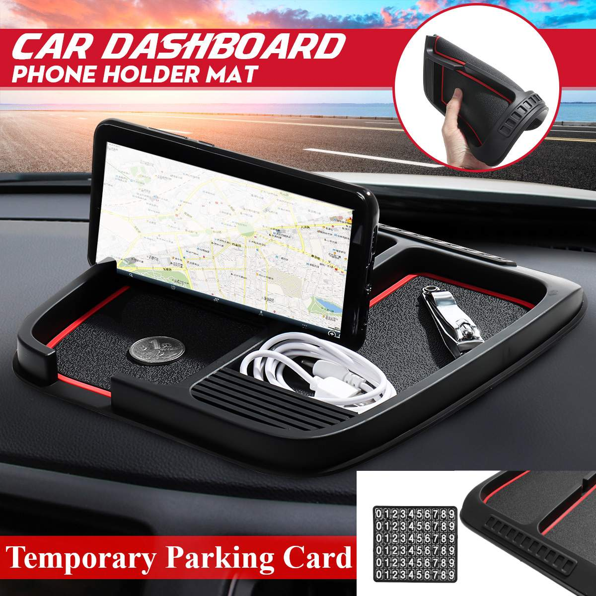 Car Silicone Rubber Dashboard Panel Mat Phone Mount Holder Temporary Parking Card Phone Number Sticker Holder Anti-Slip Mat