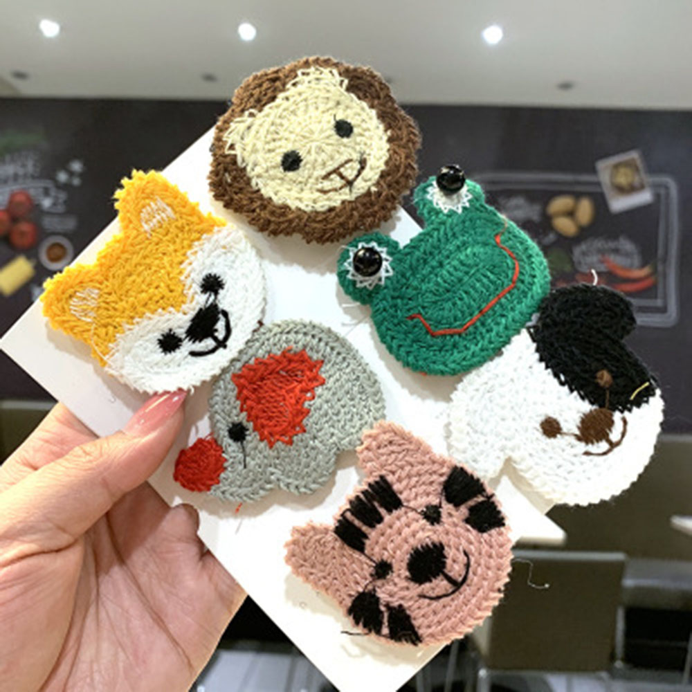 Korean Version Of Wool Embroidery Cute Cartoon Small Animal Hairpin Fashion Wild Girl Side Hairpin Children Bangs Clip BB Clip