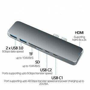 Hub USB 3.1 type-c compatible avec adaptateur HDMI VGA 4K Thunderbolt 3 Hub avec moyeu 3.0 TF emplacement pour lecteur SD PD pour MacBook Pro/Air 2020