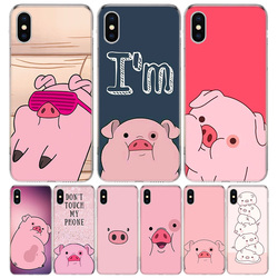 Funda de teléfono Kawai Pig rosa para iPhone, funda protectora de TPU, para iPhone 11 12 Mini Pro 7 6X8 6S Plus XS MAX + XR 5S SE 10 Ten Art
