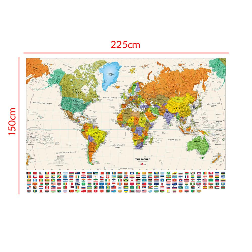 150x225cm The World Physical Map With National Flags Non-woven Waterproof Map For Beginner