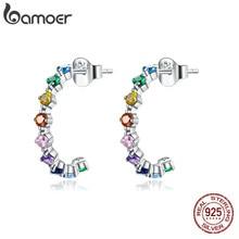 Bamoer orecchini a bottone in argento arcobaleno 100% argento Sterling 925 orecchini in zircone colorato regalo per gioielli dichiarazione ragazza SCE1014