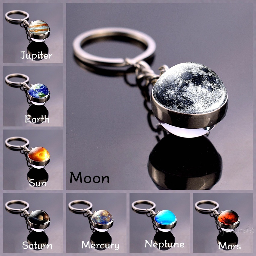 Solar System Planet Keychains Double Side Glass Ball Galaxy Nebula Space Keyring Moon Earth Sun Mars Art Picture Key Chain Gifts