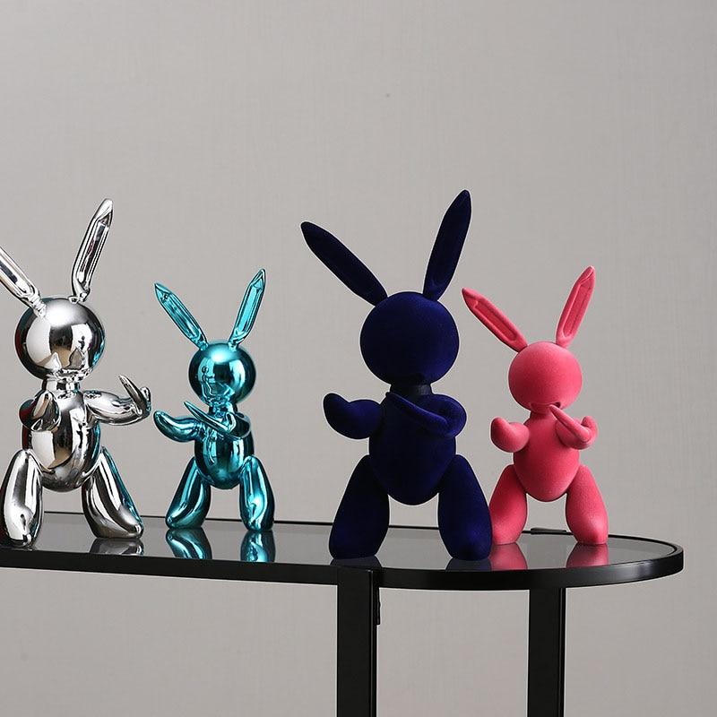 Creative Modern Plating Balloon Rabbit Crafts Sculpture Simple Home Living Room Bedroom Decoration Desktop Flocking Adornment