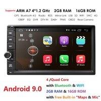 high Version RAM 2GB+ ROM 16GB Android 9.0 7 inch 2Din Universal Car Radio GPS Multimedia Unit Player For VW Nissan Kia