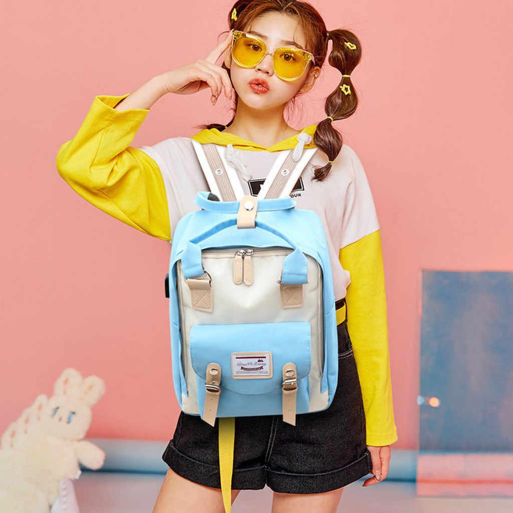 Stile coreano Zaino In Nylon Per Le Donne Semplici di Modo della Gioventù Zaino Da Viaggio Per Il Tempo Libero Del Sacchetto di Scuola Tote Per Teenager Sacchetto di Spalla Della Ragazza 8