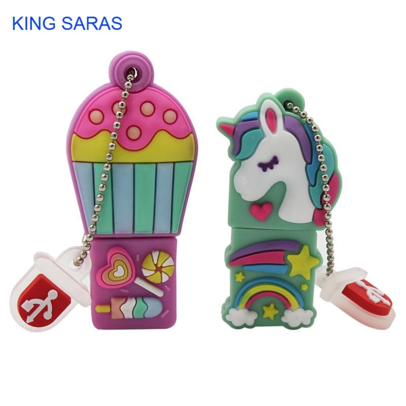 KING SARAS Cartoon 2 Model Hot Air Balloon Unicorn Usb 2.0 Usb Flash Drive 4GB 8GB 16GB 32GB 64GB Pendrive  Usb Flash Drive
