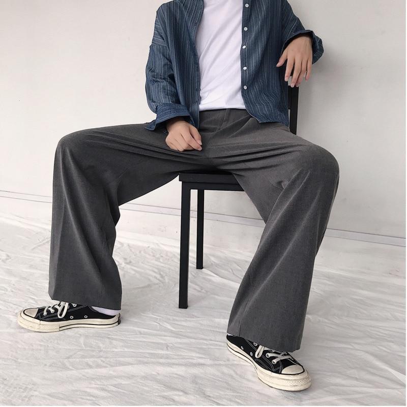 Image 2 - 2019 весна и осень новый тренд личности дикие повседневные  японские Ретро свободные широкие брюки черный серый/армейский зеленый M  2XL