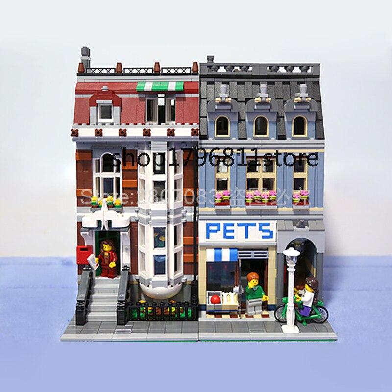 En Stock, 10218, serie Creator Street View Pet Shop 15009, modelo de bloques de construcción, juegos de juguetes, 2128 uds, creador Compatible con ladrillos 2020 zapatillas de mujer de diseñador de marca zapatos informales de tacón plano deslizantes de hebilla británica zapatos de verano de tacón de bloque de madera