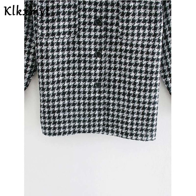 Klkxmyt-veste en Tweed pied-de-poule pour femme, manteau en Tweed à la mode, Vintage, manches longues, poches, hauts chics, 2020 5