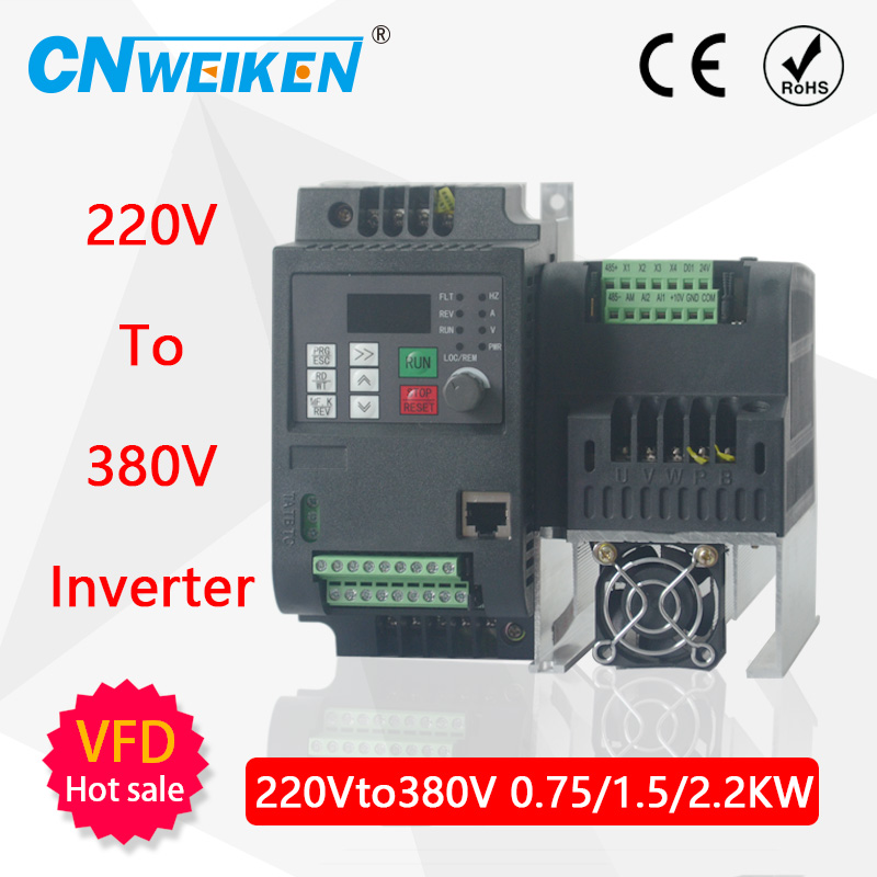 2.2KW 220V Frequency Converter AC Single Phase Input <font><b>3</b></font> Phase 380V Output VFD Frequency Inverter Motor Speed Controller 50/60Hz image