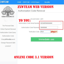 En línea ZXW equipo 3,1 Software de ZXWTEAM ZXWSoft código de autorización Digital trillion x Diagrama de Circuito de trabajo para iPhone iPad Samsung