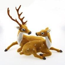 Christmas Decoration Couple Deer 23cm Plush Simulation Xmas Elk New Year 2020 Gift Decorations for Home Navidad Noel.