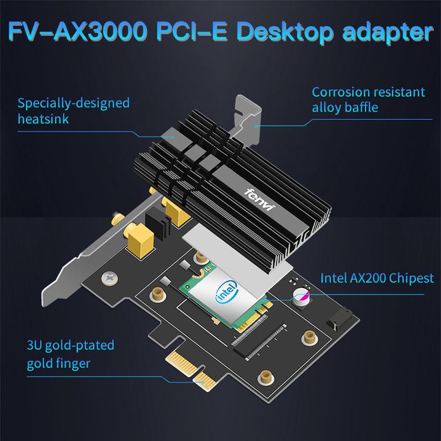 Dual Band 2400Mbps Wireless PCI-E Wifi Adapter For Desktop PC For Wi-Fi 6 AX200 Bluetooth 5.0 802.11ax/ac 2.4G/5G AX200NGW Card