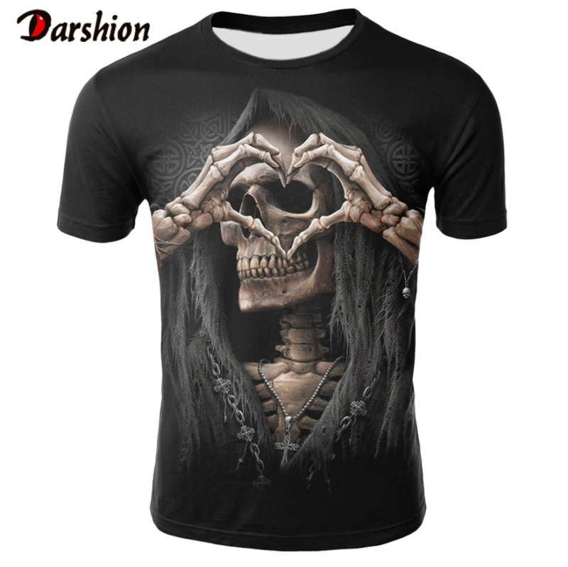 New Arrive 3d Blue Skull T Shirts Funny Summer Hipster Short Sleeves Tee Tops Men T-Shirt Homme Short Sleeves Tops Dropshipping