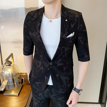 2 pieces Men Suits Fashion Print Short Sleeve Suit Jacket Ankle-length Pants Spring Summer Trend Skinny Slim fit Mens Clothing