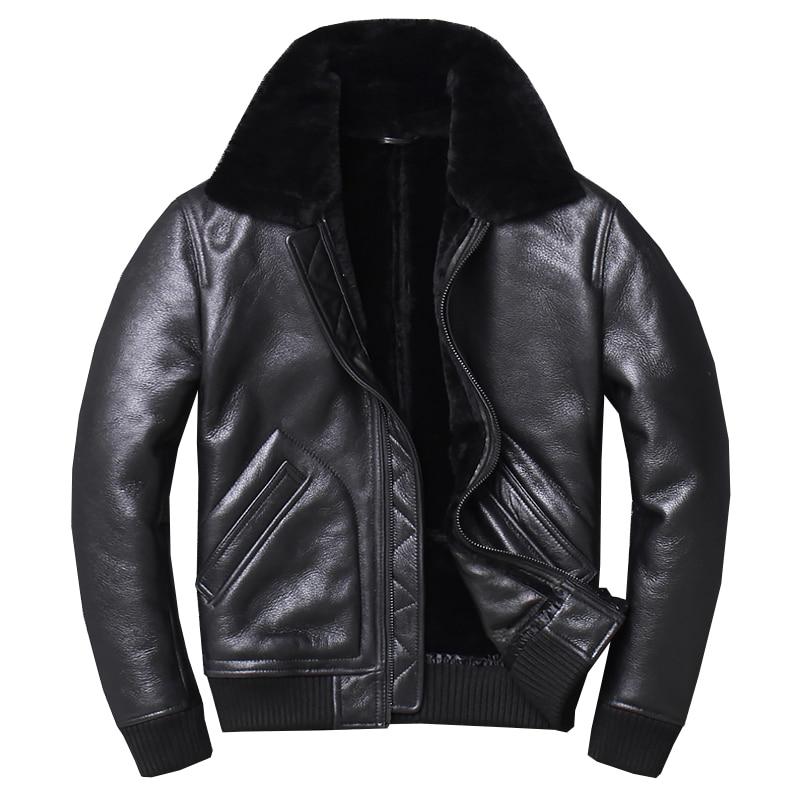 2019 noir hommes militaire pilote Shearling veste grande taille XXXXL Slim Fit hiver épais russe aviateur véritable manteau livraison gratuite