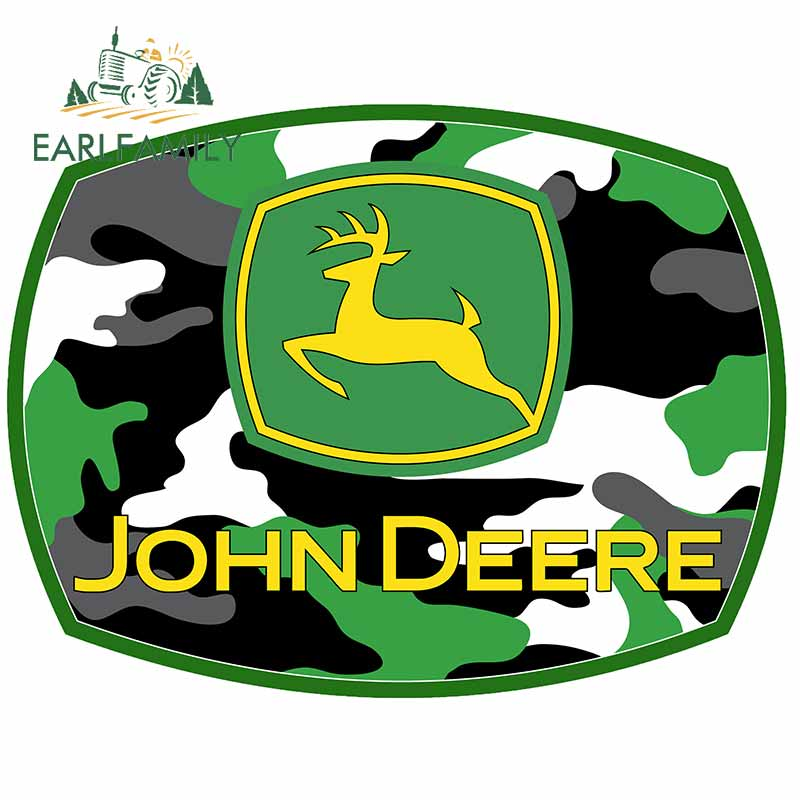 EARLFAMILY 13cm X 10.1cm For John Deere Motorcycle Car Stickers Graffiti Decal DIY Funny Occlusion Scratch For JDM SUV RV