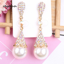 Veyofun Vintage Pearl Dangle Earrings for Women AB Color Rhinestone Drop 2019 New Fashion Jewelry