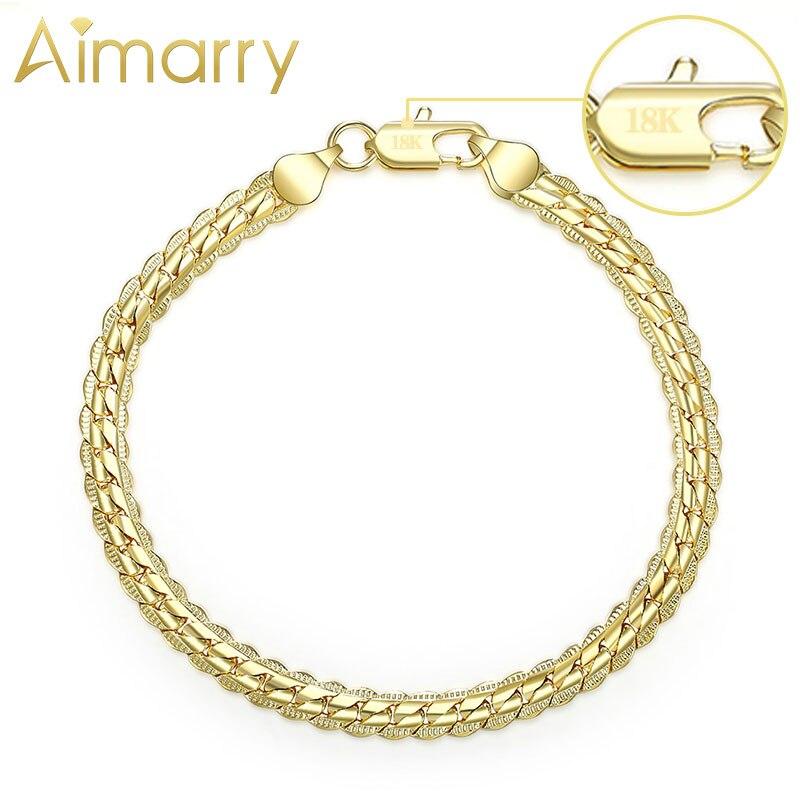 Aimarry 925 Sterling Silver 18K Gold 5MM Full sideways Chain Bracelet For Women Men Party Gifts Wedding Fashion Jewelry