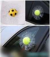 Otomobiller ve Motosikletler'ten Araba Çıkartmaları'de 3D Siyah 8 Havuz Topu Hit pencere camı Çatlak Sticker Araba Styling Bilardo Simülasyon Kırık Komik seramik karo Çıkartmaları Çıkartması
