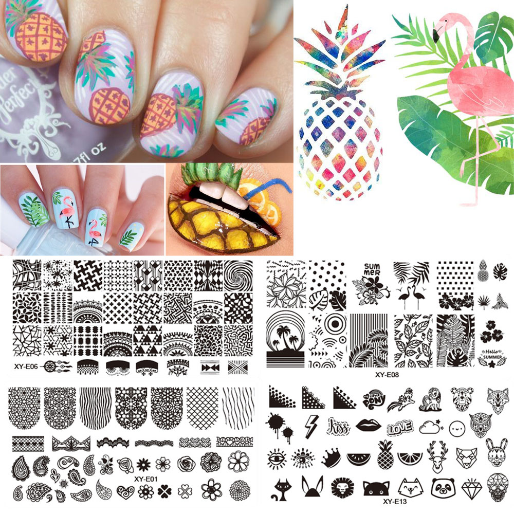 Nail Stamping Plates Summer Fruit Pineapple Flamingo Fashion Image Steel Plates Nail Stamp Templates Manicure Polish TRXYE01-16