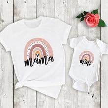 1 pièces arc-en-ciel maman et moi chemise mode famille correspondant vêtements arc-en-ciel maman et Mini t-shirt mignon Look de famille tenues