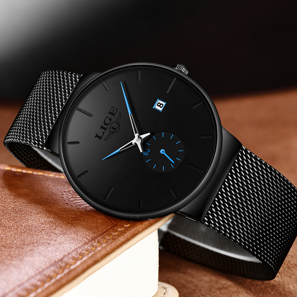Fashion Men Watches LIGE Casual Waterproof Mesh Steel Army Military Watch Men Simple Date Sport Quartz Watch Relogio Masculino in Quartz Watches from Watches