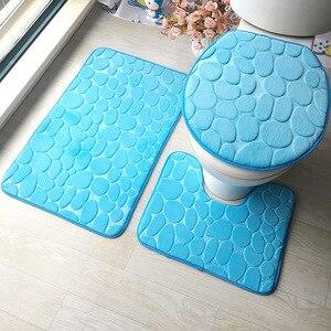Image 5 - Zestaw dywaników do łazienki 3D tłoczone podłoga w łazience dywan flanelowe mata toaletowa z pokrywa 3 sztuka/zestaw antypoślizgowe w kształcie litery U zestaw mat do kąpieli