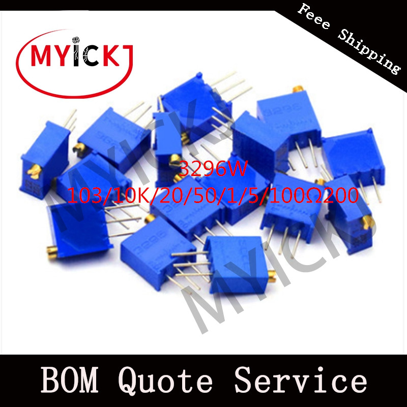 10pcs 3296 Potentiometer Precision Adjustable Resistance Multi - Turn Fine – Tuning 103/10K/20/50/1/5/100 Ω  200