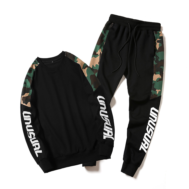 Sports Set Men's Spring And Autumn Plus-sized Casual Running Sports Clothing Large Size Loose-Fit Hoodie Men Two-Piece Set