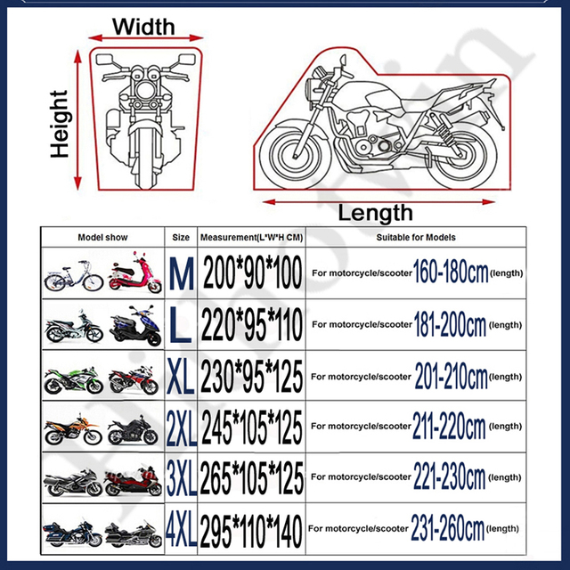 Motorcycle cover M L XL 2XL 3XL 4XL universal Outdoor UV Protector Scooter All Season waterproof Bike Rain Dustproof cover 190T