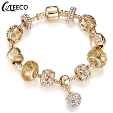 CUTEECO Luxury Crystal Heart Charm Bracelets For Women Gold Bracelets Fashion Jewelry DIY Handmade Pulseira Gifts luxury crystal heart charm bracelets