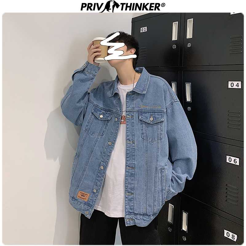 Privathinker 2020 Koreanische Mann Denim Jacken Soild Jean Mantel Mode Männer Slim Fit Casual Tops Plus Größe 5XL