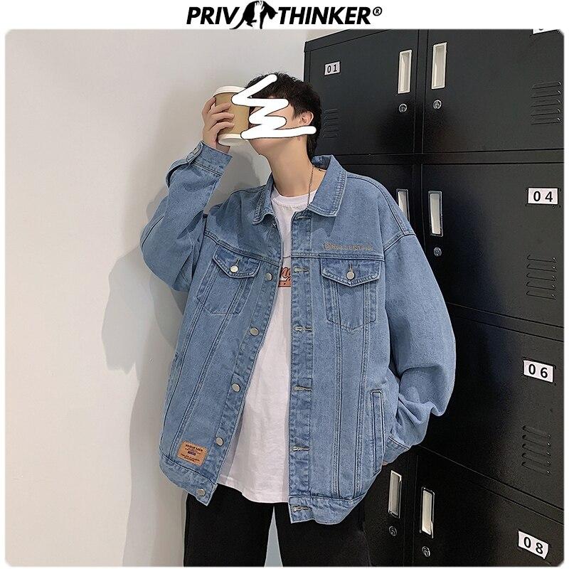 Privathinker 2020 Korean Man Denim Jackets Soild Jean Coat Fashion Slim Fit Male Casual Tops Plus Size 5XL