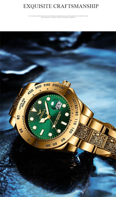 inoxidável relógio masculino alta qualidade relógios de ouro