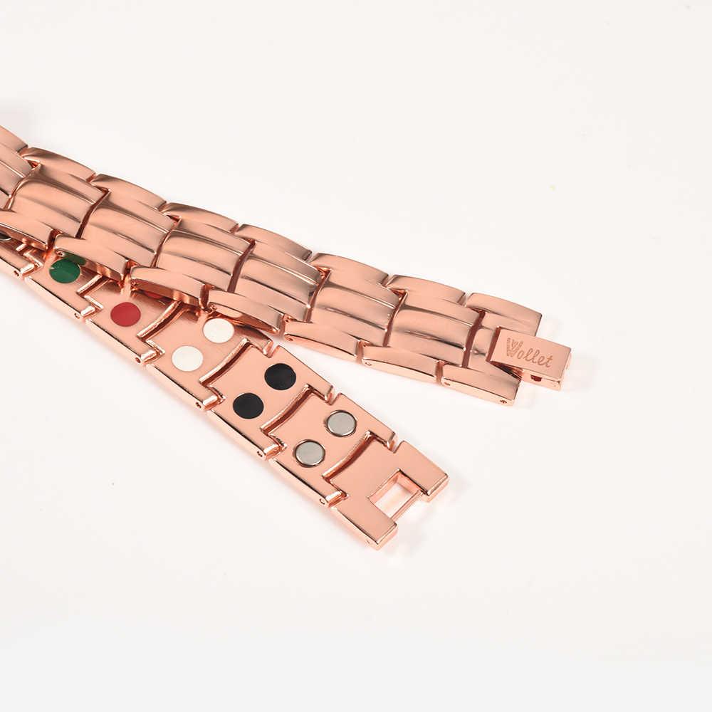 Wollet ジュエリー磁気銅ブレスレット男性の女性のため治癒健康エネルギー抗関節炎の痛みすべて磁石や 5 で 1