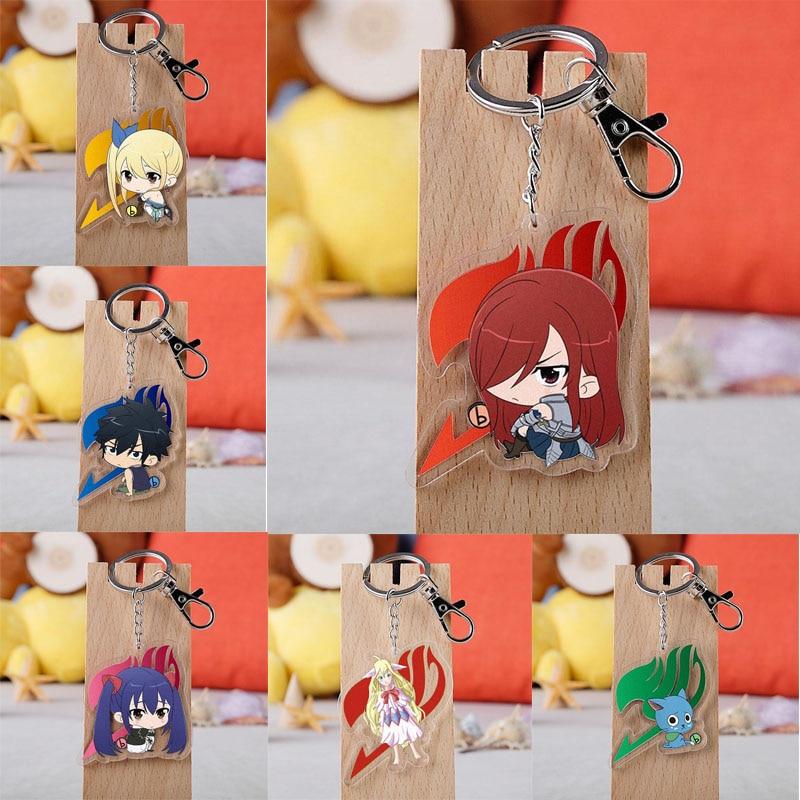 Anime Fairy Tail Keychain Cartoon Figure Lucy Happy Cat Kana Alberona Acrylic Pendants Key Ring