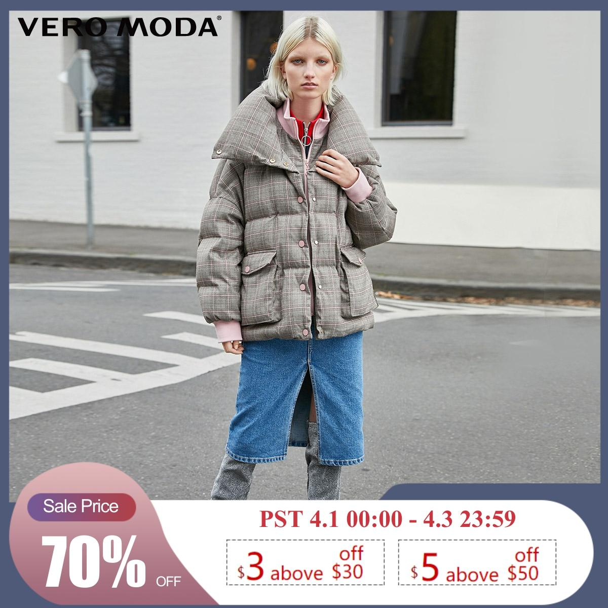 Vero Moda New Double Collars Plaid Down Jacket | 319423507
