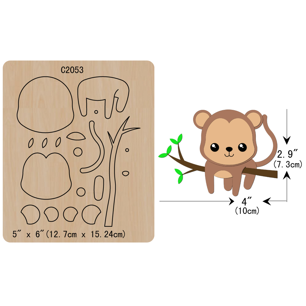 New Lovely monkey Wooden die Scrapbooking <font><b>C2053</b></font> Cutting Dies image