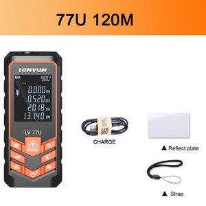 Image 5 - LOMVUM de carga USB 77U mano Trena telémetro láser Digital láser metro de distancia eléctrica de la cinta de medición de herramientas 40 M  120 M