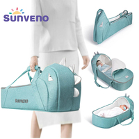 Sunveno Portable Baby Carrycot Bassinet Baby Travel Bed Crib Infant Transporter Basket Newborn Clamshell Bed for Baby 0 12Months