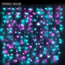 Toprex 1.5x1.5m christmas led curtain lake blue & pink led string light holiday party lights festival decor цена 2017