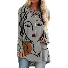 Moda graffiti feminino rosto imprimir camiseta vintage o-neck turno feminino casual algodão solto manga longa topos plus size