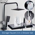 Черный термостатический дождевой смеситель для душа  набор  настенный дождевой смеситель для душа  для хранения  смеситель для ванны  смеси...