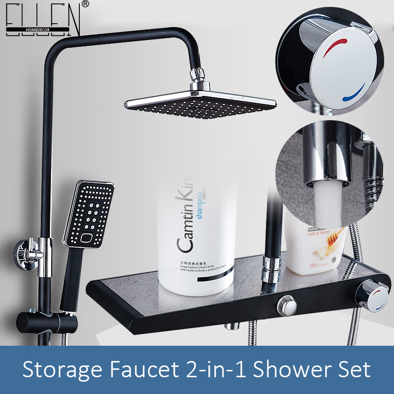 Black Thermostatic Rain Shower Faucet Set Wall Rainfall Shower Faucets Storage Bath Mixer Tap Hot Cold With Hand Shower EL3902