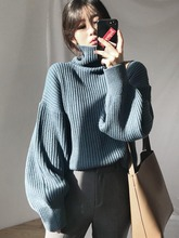 Korean Style Loose Striped Lantern Sleeve Pullover Turtleneck Sweater Knitwear