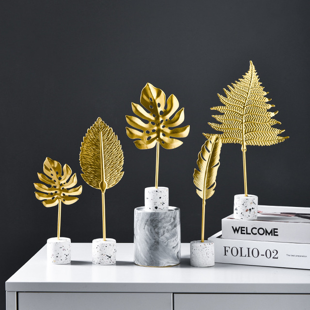 Nordic Iron Luxury Golden Banana Leaf Ornaments Home Furnishing Crafts Gifts Living Room Cabinet Art Home Decoration Accessories 2